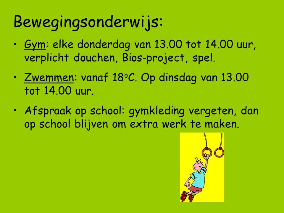 Bewegingsonderwijs: Gym: elke donderdag van 13.00 tot 14.00 uur, verplicht douchen, Bios-project, spel. Zwemmen: vanaf 18 o C. Op dinsdag van 13.00 to