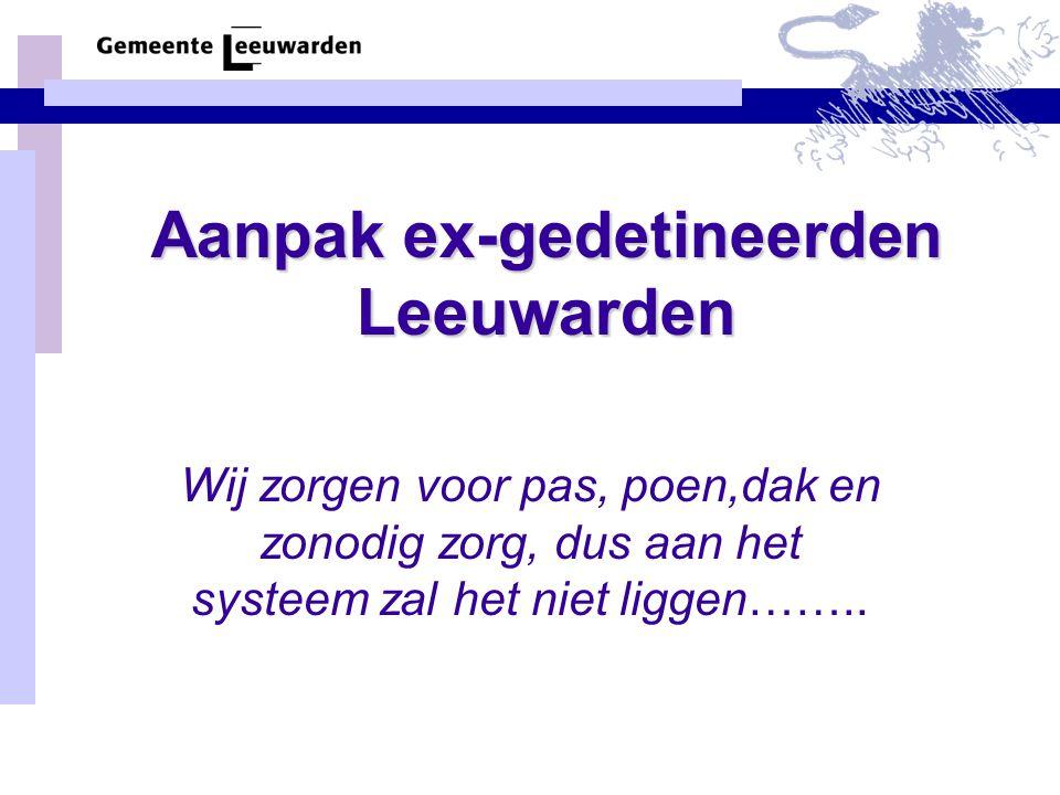 Aanpak ex-gedetineerden Leeuwarden Wij zorgen voor pas, poen,dak en zonodig zorg, dus aan het systeem zal het niet liggen……..