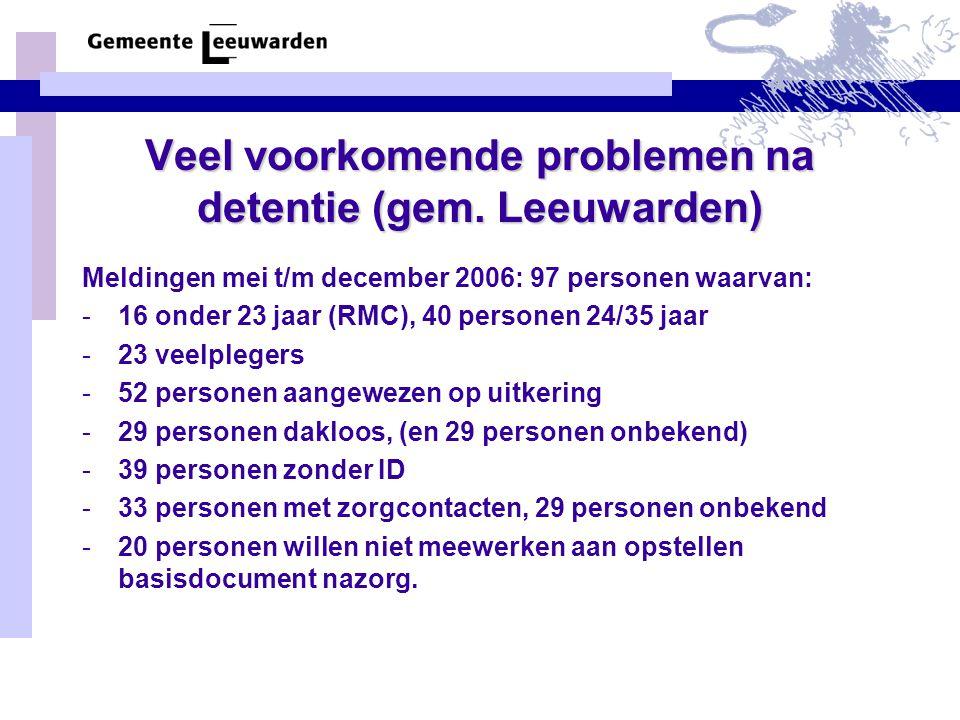 Veel voorkomende problemen na detentie (gem. Leeuwarden) Meldingen mei t/m december 2006: 97 personen waarvan: -16 onder 23 jaar (RMC), 40 personen 24