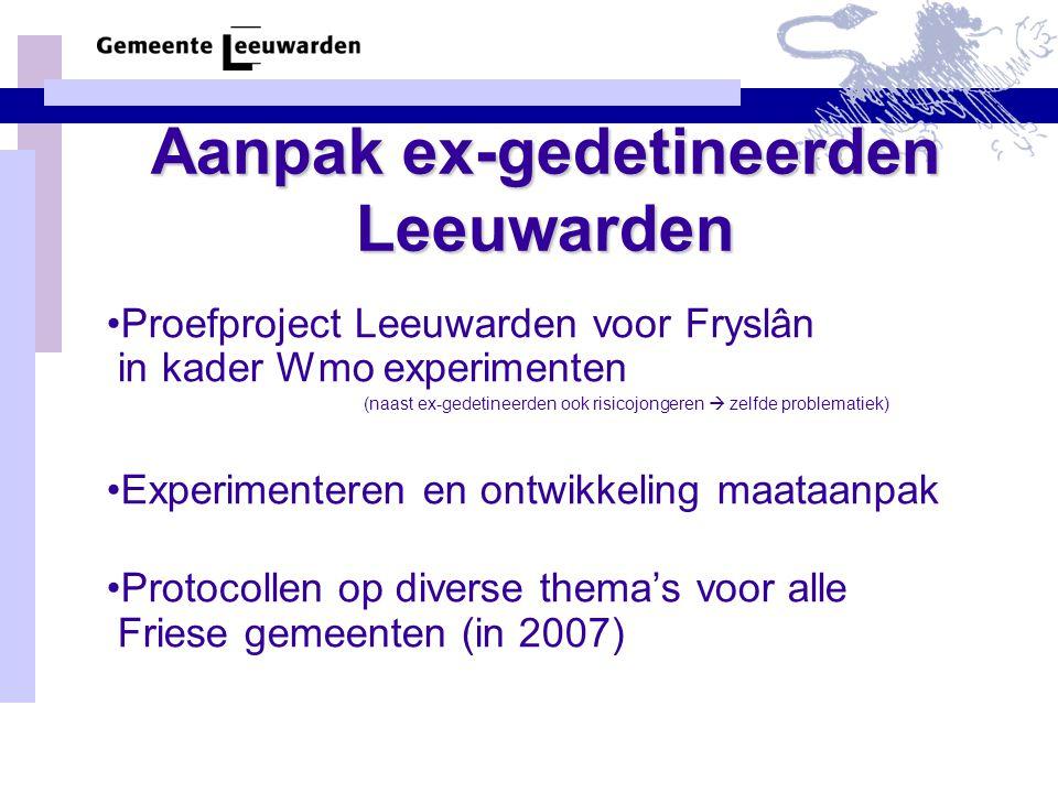 Aanpak ex-gedetineerden Leeuwarden Proefproject Leeuwarden voor Fryslân in kader Wmo experimenten (naast ex-gedetineerden ook risicojongeren  zelfde