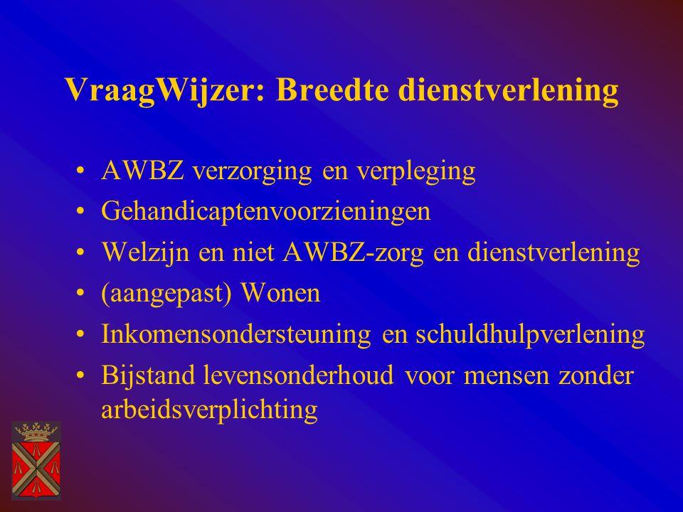 VraagWijzer: Breedte dienstverlening AWBZ verzorging en verpleging Gehandicaptenvoorzieningen Welzijn en niet AWBZ-zorg en dienstverlening (aangepast) Wonen Inkomensondersteuning en schuldhulpverlening Bijstand levensonderhoud voor mensen zonder arbeidsverplichting
