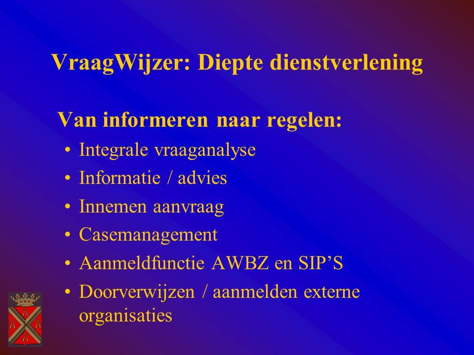 VraagWijzer: Diepte dienstverlening Van informeren naar regelen: Integrale vraaganalyse Informatie / advies Innemen aanvraag Casemanagement Aanmeldfunctie AWBZ en SIP'S Doorverwijzen / aanmelden externe organisaties