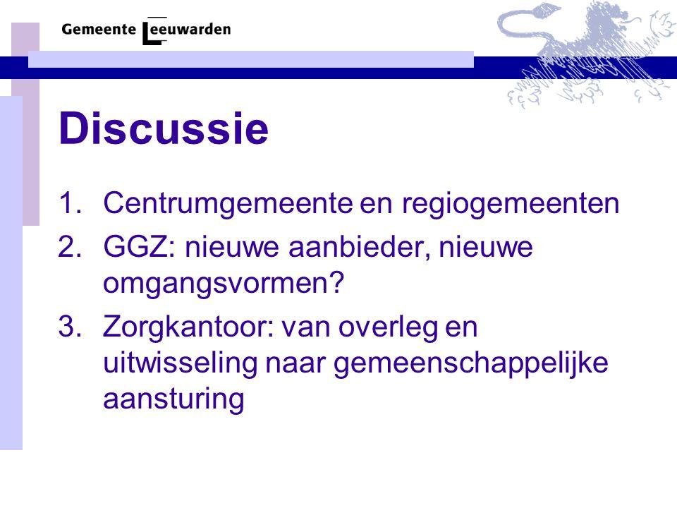 Discussie 1.Centrumgemeente en regiogemeenten 2.GGZ: nieuwe aanbieder, nieuwe omgangsvormen.