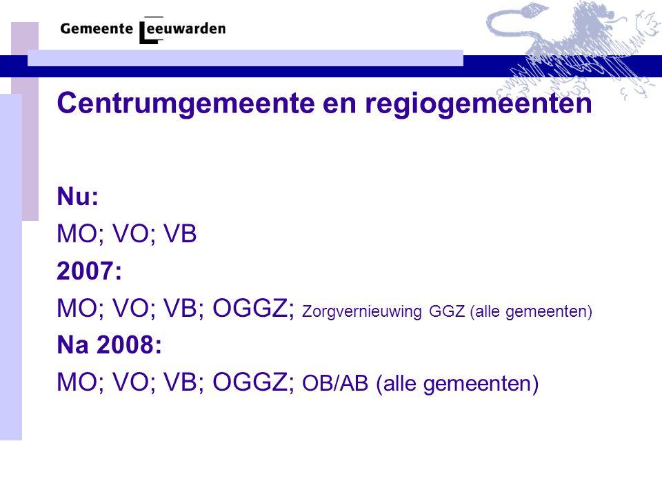 Centrumgemeente en regiogemeenten Nu: MO; VO; VB 2007: MO; VO; VB; OGGZ; Zorgvernieuwing GGZ (alle gemeenten) Na 2008: MO; VO; VB; OGGZ; OB/AB (alle gemeenten)