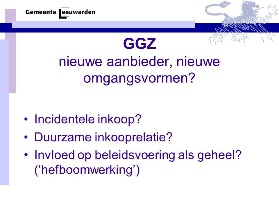 GGZ nieuwe aanbieder, nieuwe omgangsvormen. Incidentele inkoop.