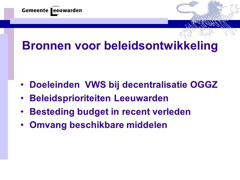 Bronnen voor beleidsontwikkeling Doeleinden VWS bij decentralisatie OGGZ Beleidsprioriteiten Leeuwarden Besteding budget in recent verleden Omvang beschikbare middelen