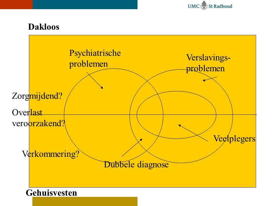 Dakloos Gehuisvesten Psychiatrische problemen Verslavings- problemen Zorgmijdend.