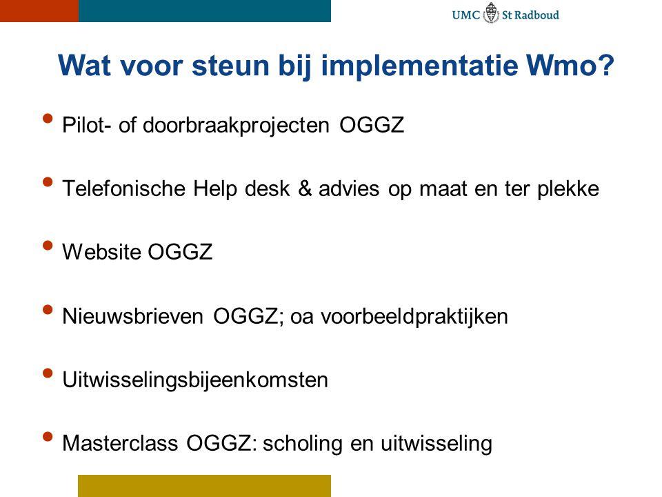 Wat voor steun bij implementatie Wmo.