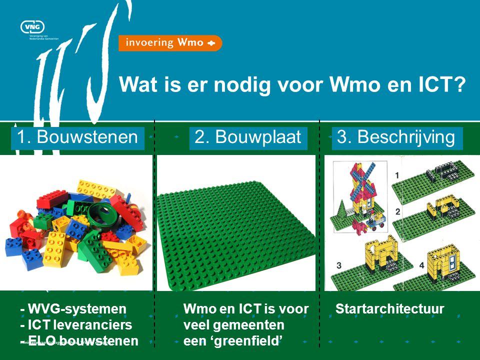 Wat is er nodig voor Wmo en ICT? 1. Bouwstenen - WVG-systemen - ICT leveranciers - ELO bouwstenen 2. Bouwplaat Wmo en ICT is voor veel gemeenten een '