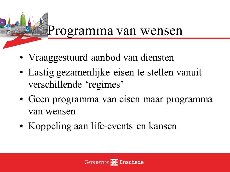 Programma van wensen Vraaggestuurd aanbod van diensten Lastig gezamenlijke eisen te stellen vanuit verschillende 'regimes' Geen programma van eisen ma