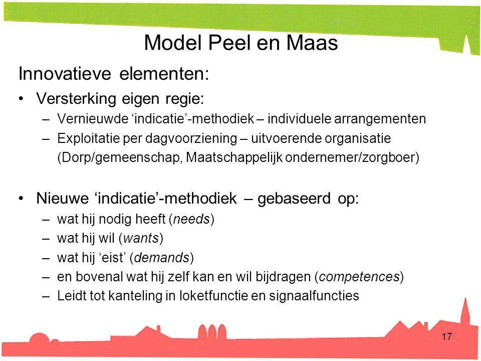 Model Peel en Maas Innovatieve elementen: Versterking eigen regie: –Vernieuwde 'indicatie'-methodiek – individuele arrangementen –Exploitatie per dagv