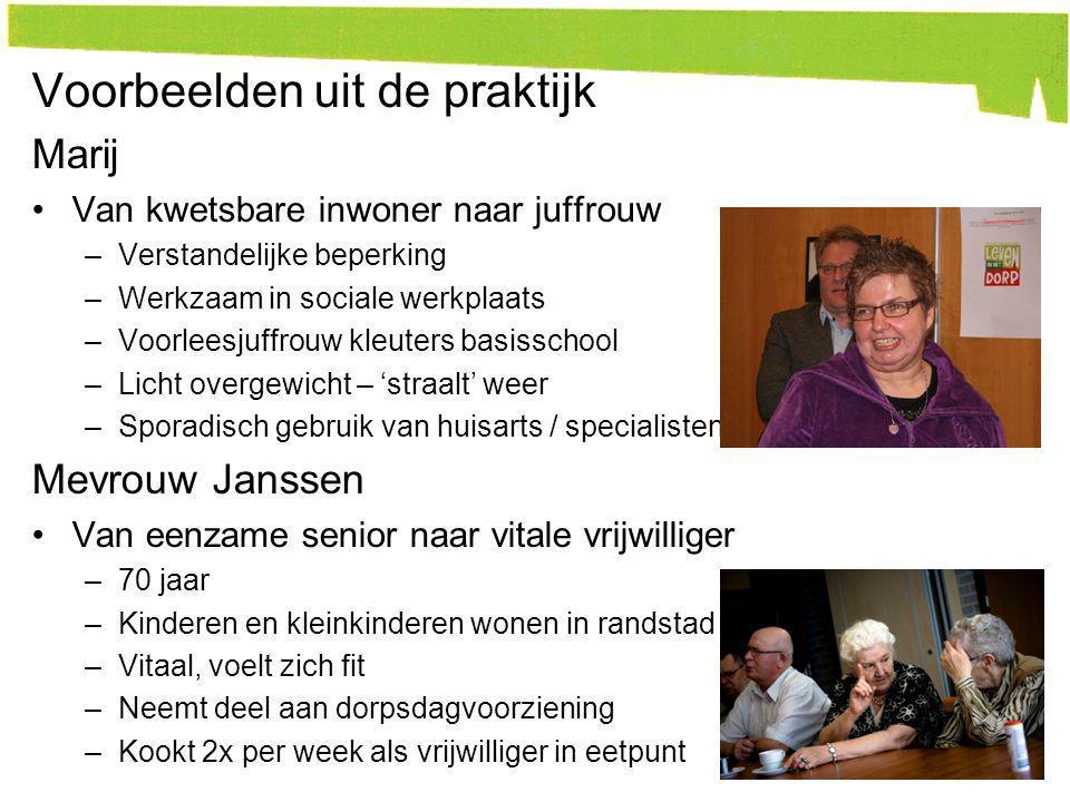 Voorbeelden uit de praktijk Marij Van kwetsbare inwoner naar juffrouw –Verstandelijke beperking –Werkzaam in sociale werkplaats –Voorleesjuffrouw kleu