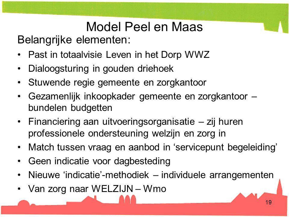 Model Peel en Maas Belangrijke elementen: Past in totaalvisie Leven in het Dorp WWZ Dialoogsturing in gouden driehoek Stuwende regie gemeente en zorgk