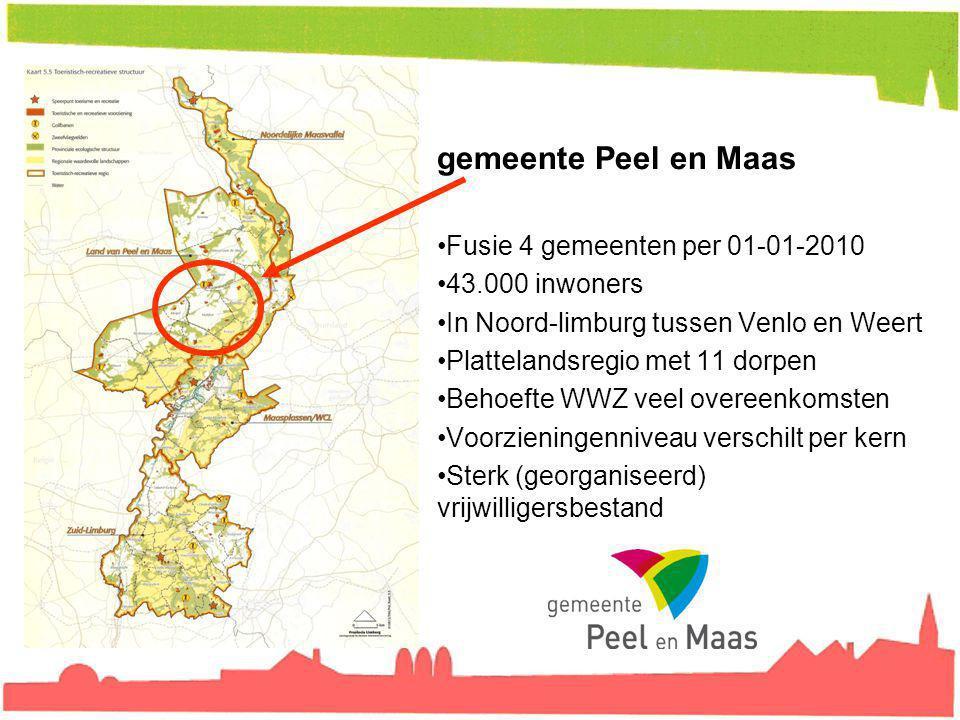 gemeente Peel en Maas Fusie 4 gemeenten per 01-01-2010 43.000 inwoners In Noord-limburg tussen Venlo en Weert Plattelandsregio met 11 dorpen Behoefte