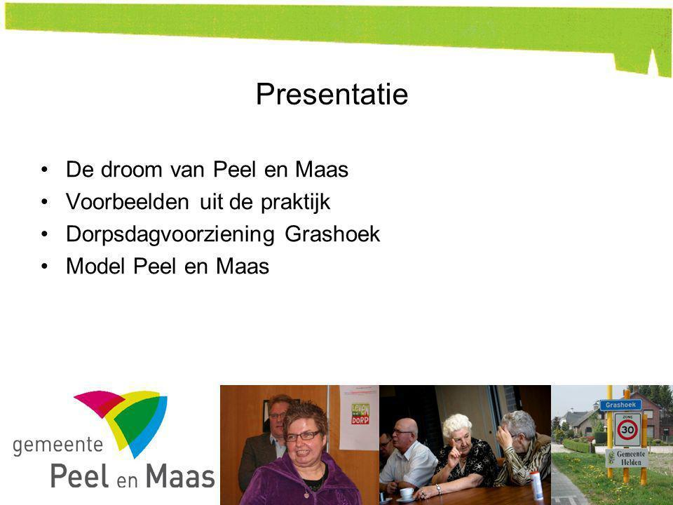Presentatie De droom van Peel en Maas Voorbeelden uit de praktijk Dorpsdagvoorziening Grashoek Model Peel en Maas 4