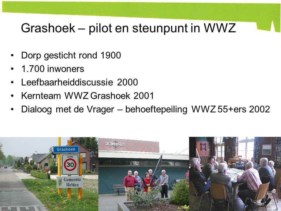 Dorp gesticht rond 1900 1.700 inwoners Leefbaarheiddiscussie 2000 Kernteam WWZ Grashoek 2001 Dialoog met de Vrager – behoeftepeiling WWZ 55+ers 2002 9