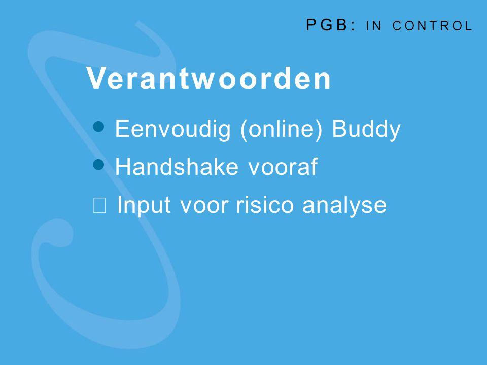 Verantwoorden Eenvoudig (online) Buddy Handshake vooraf  Input voor risico analyse PGB: IN CONTROL