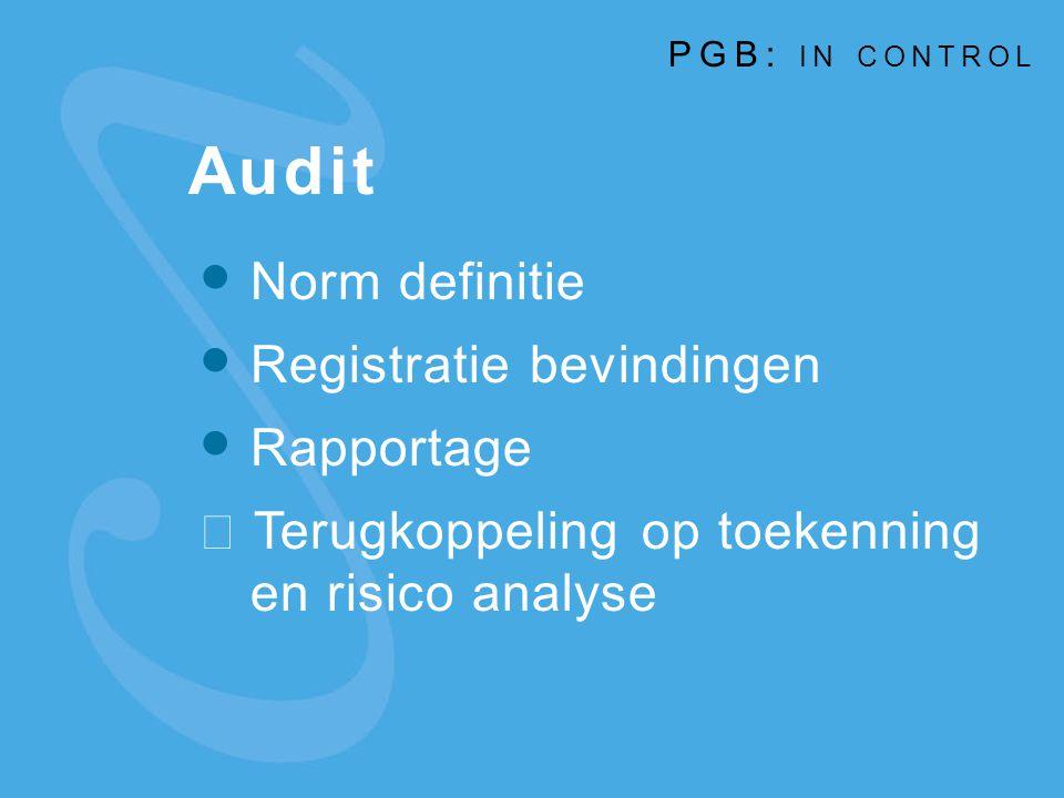 Audit Norm definitie Registratie bevindingen Rapportage  Terugkoppeling op toekenning en risico analyse PGB: IN CONTROL