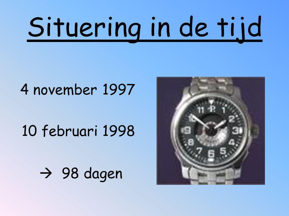 Situering in de tijd 4 november 1997 10 februari 1998  98 dagen