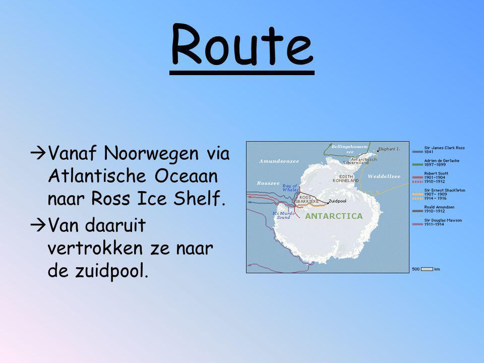 Route  Vanaf Noorwegen via Atlantische Oceaan naar Ross Ice Shelf.  Van daaruit vertrokken ze naar de zuidpool.