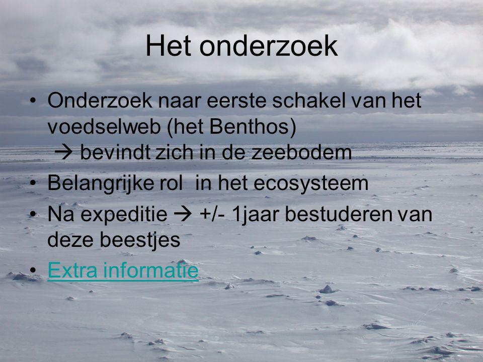 Het onderzoek Onderzoek naar eerste schakel van het voedselweb (het Benthos)  bevindt zich in de zeebodem Belangrijke rol in het ecosysteem Na expeditie  +/- 1jaar bestuderen van deze beestjes Extra informatie