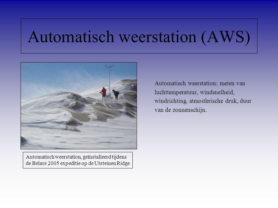 Automatisch weerstation (AWS) Automatisch weerstation: meten van luchttemperatuur, windsnelheid, windrichting, atmosferische druk, duur van de zonnens