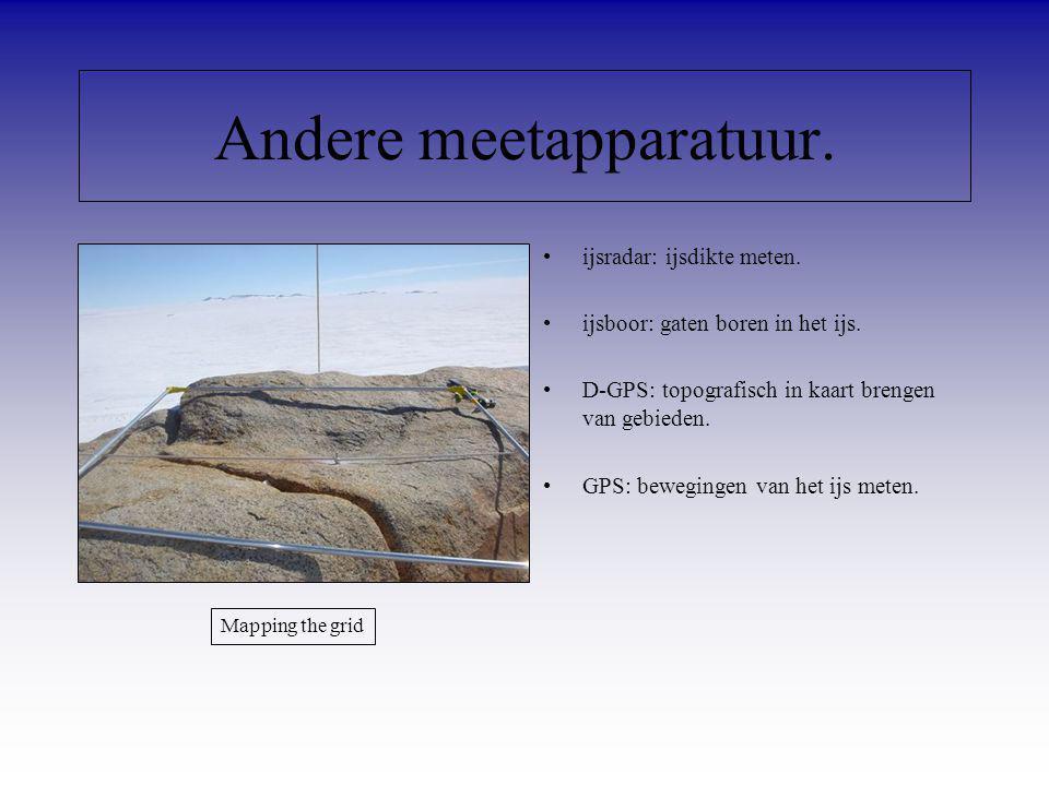 ijsradar: ijsdikte meten. ijsboor: gaten boren in het ijs. D-GPS: topografisch in kaart brengen van gebieden. GPS: bewegingen van het ijs meten. Ander