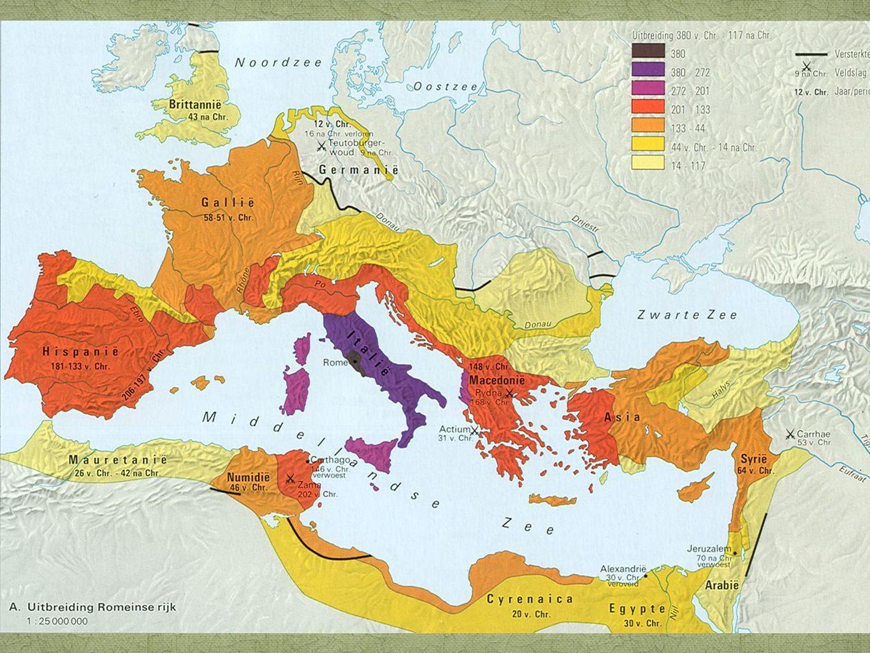 Twee manieren Diplomatie ->bondgenootschappen Leger: beroepsleger, snelle verplaatsing en beloning van land, Romeins burgerrecht
