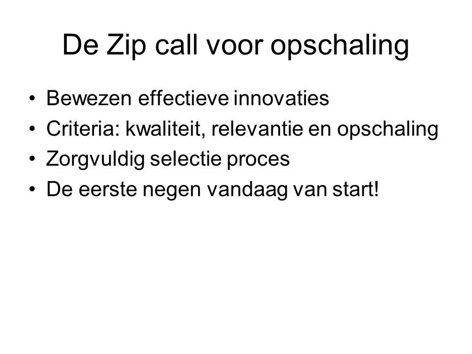 De Zip call voor opschaling Bewezen effectieve innovaties Criteria: kwaliteit, relevantie en opschaling Zorgvuldig selectie proces De eerste negen van