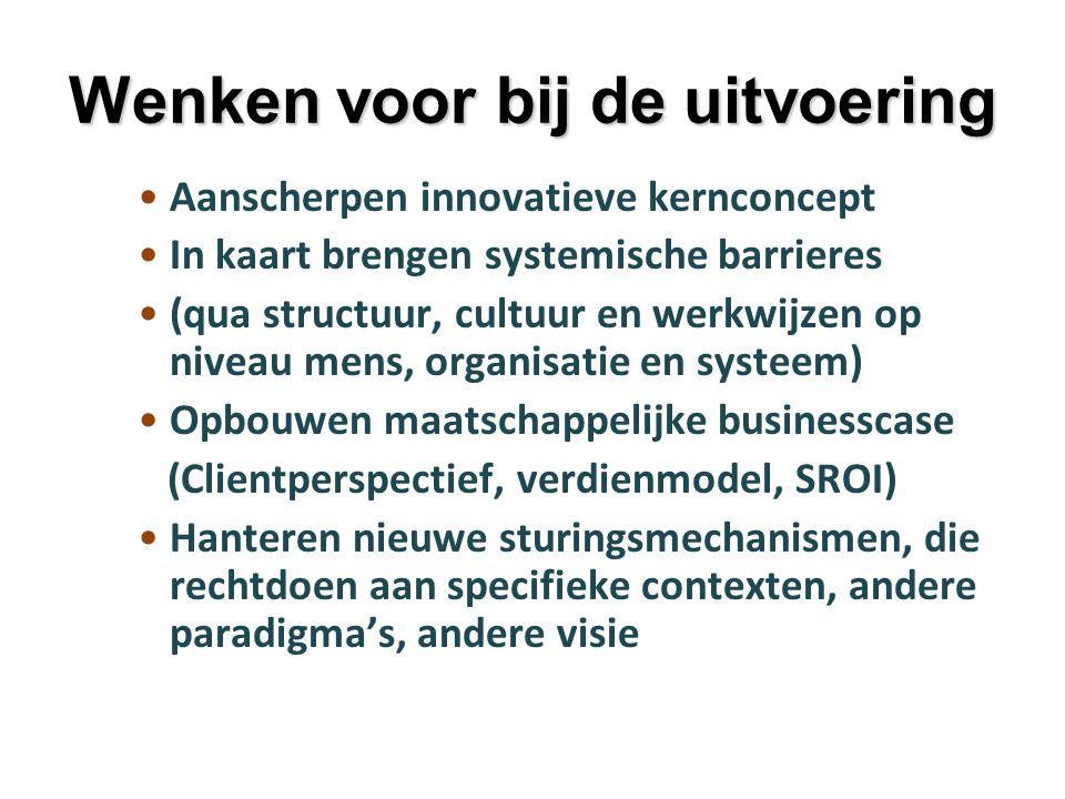 Wenken voor bij de uitvoering Aanscherpen innovatieve kernconcept In kaart brengen systemische barrieres (qua structuur, cultuur en werkwijzen op nive