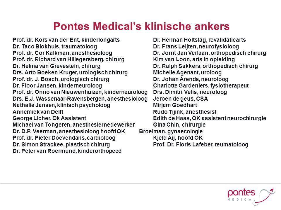Pontes Medical's klinische ankers Prof. dr. Kors van der Ent, kinderlongarts Dr. Herman Holtslag, revalidatiearts Dr. Taco Blokhuis, traumatoloog Dr.