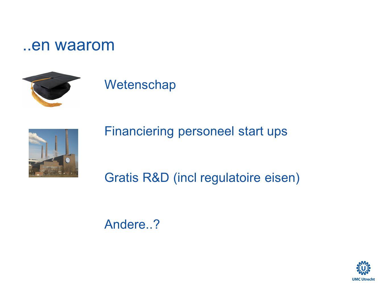 ..en waarom Wetenschap Financiering personeel start ups Gratis R&D (incl regulatoire eisen) Andere..