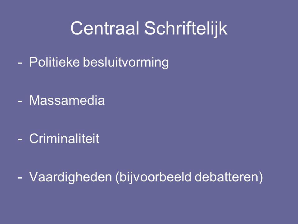 Centraal Schriftelijk -Politieke besluitvorming -Massamedia -Criminaliteit -Vaardigheden (bijvoorbeeld debatteren)