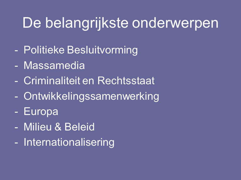 De belangrijkste onderwerpen -Politieke Besluitvorming -Massamedia -Criminaliteit en Rechtsstaat -Ontwikkelingssamenwerking -Europa -Milieu & Beleid -Internationalisering