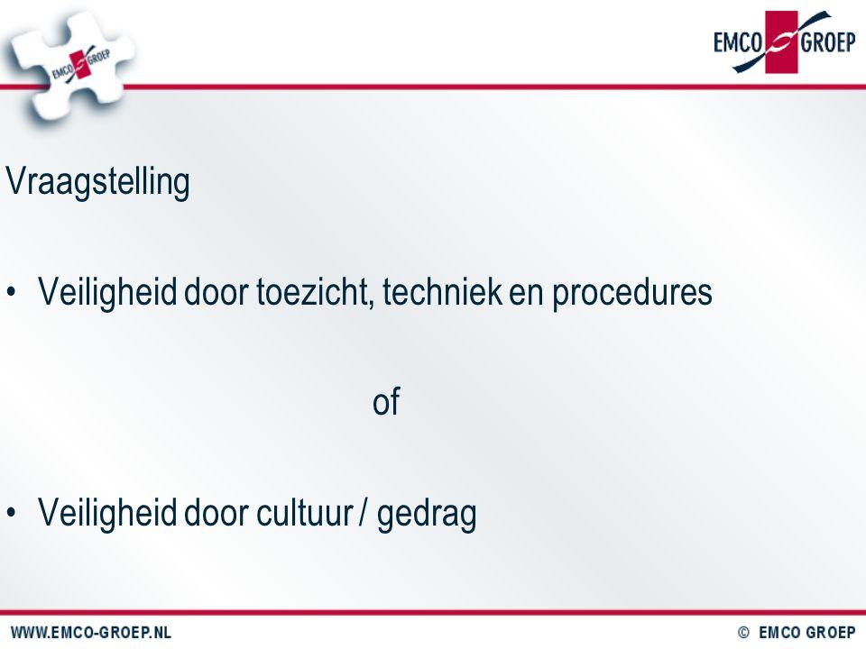 Vraagstelling Veiligheid door toezicht, techniek en procedures of Veiligheid door cultuur / gedrag