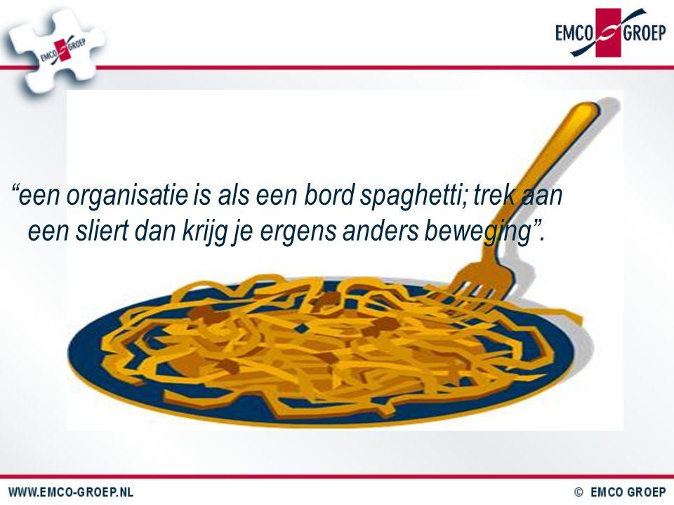 """""""een organisatie is als een bord spaghetti; trek aan een sliert dan krijg je ergens anders beweging""""."""