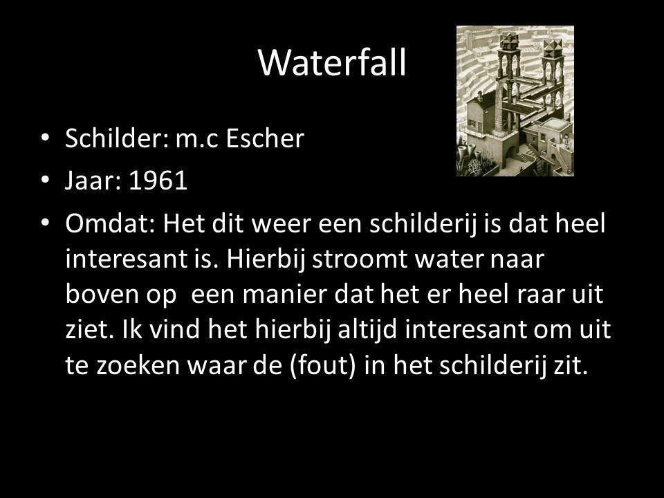 Waterfall Schilder: m.c Escher Jaar: 1961 Omdat: Het dit weer een schilderij is dat heel interesant is.