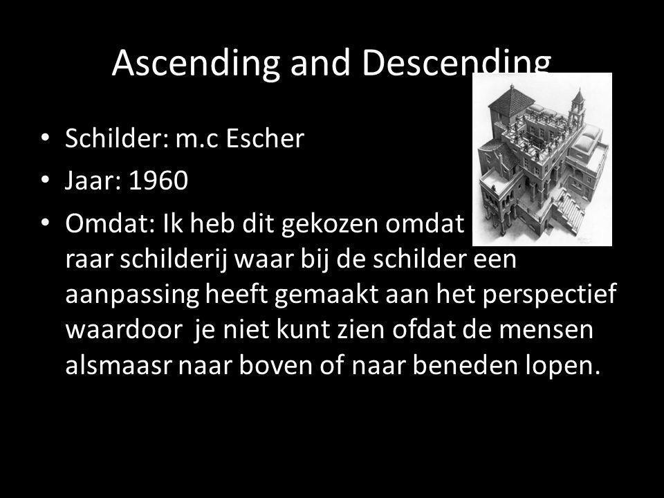 Ascending and Descending Schilder: m.c Escher Jaar: 1960 Omdat: Ik heb dit gekozen omdat het een hee raar schilderij waar bij de schilder een aanpassing heeft gemaakt aan het perspectief waardoor je niet kunt zien ofdat de mensen alsmaasr naar boven of naar beneden lopen.