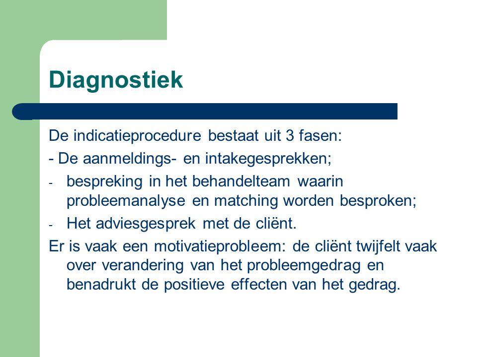 Diagnostiek De indicatieprocedure bestaat uit 3 fasen: - De aanmeldings- en intakegesprekken; - bespreking in het behandelteam waarin probleemanalyse