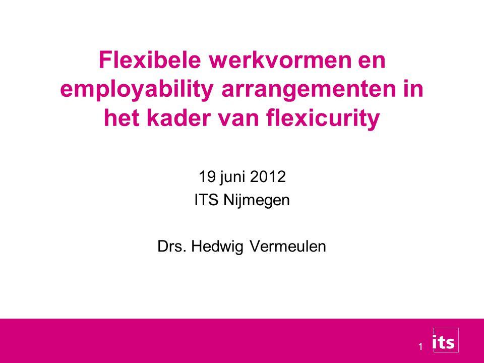 1 19 juni 2012 ITS Nijmegen Drs. Hedwig Vermeulen Flexibele werkvormen en employability arrangementen in het kader van flexicurity