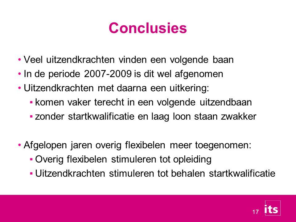 17 Conclusies Veel uitzendkrachten vinden een volgende baan In de periode 2007-2009 is dit wel afgenomen Uitzendkrachten met daarna een uitkering: ▪ko