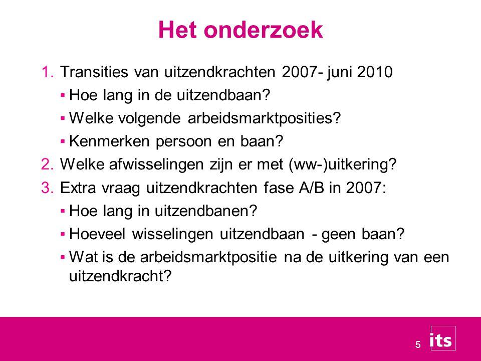 5 Het onderzoek 1.Transities van uitzendkrachten 2007- juni 2010 ▪Hoe lang in de uitzendbaan? ▪Welke volgende arbeidsmarktposities? ▪Kenmerken persoon