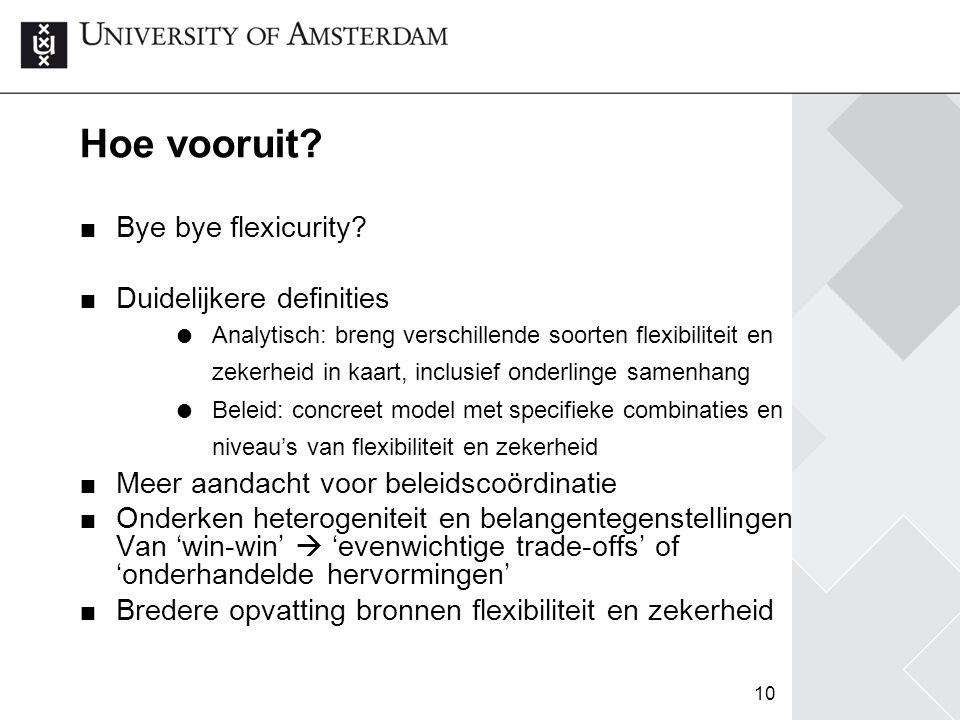 10 Hoe vooruit? Bye bye flexicurity? Duidelijkere definities  Analytisch: breng verschillende soorten flexibiliteit en zekerheid in kaart, inclusief