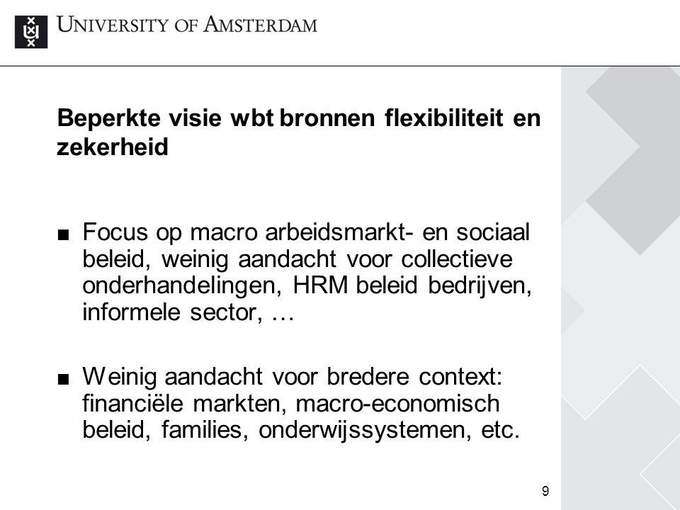 9 Beperkte visie wbt bronnen flexibiliteit en zekerheid Focus op macro arbeidsmarkt- en sociaal beleid, weinig aandacht voor collectieve onderhandelin