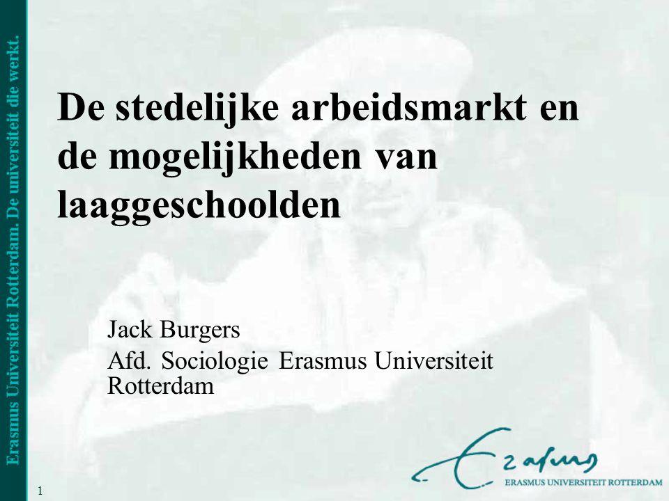 1 De stedelijke arbeidsmarkt en de mogelijkheden van laaggeschoolden Jack Burgers Afd.