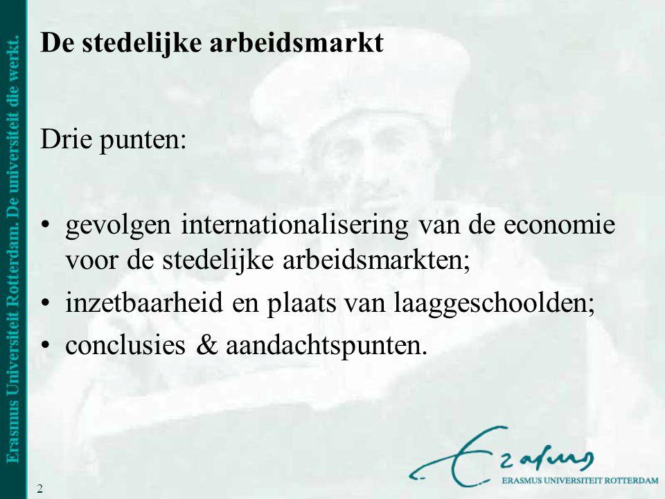 2 De stedelijke arbeidsmarkt Drie punten: gevolgen internationalisering van de economie voor de stedelijke arbeidsmarkten; inzetbaarheid en plaats van laaggeschoolden; conclusies & aandachtspunten.
