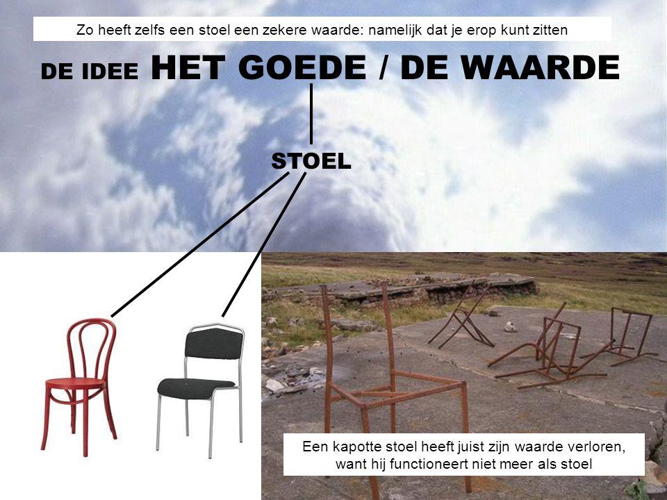 STOEL DE IDEE HET GOEDE/ DE WAARDE Een kapotte stoel heeft juist zijn waarde verloren, want hij functioneert niet meer als stoel Zo heeft zelfs een stoel een zekere waarde: namelijk dat je erop kunt zitten