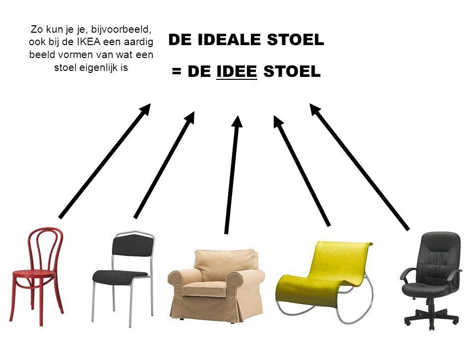 DE IDEALE STOEL = DE IDEE STOEL Zo kun je je, bijvoorbeeld, ook bij de IKEA een aardig beeld vormen van wat een stoel eigenlijk is