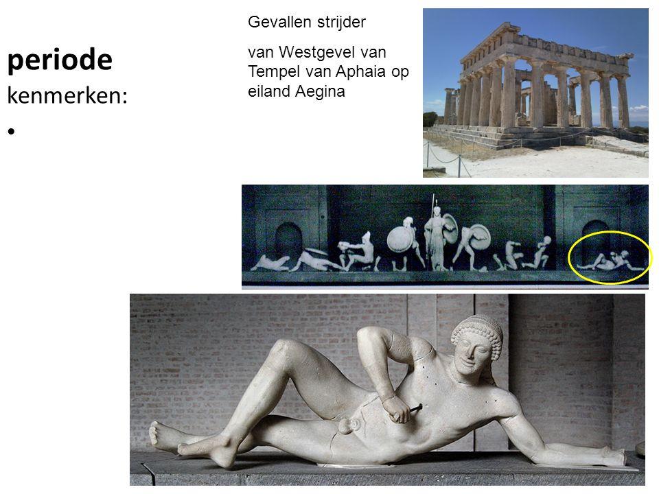 periode kenmerken: Gevallen strijder van Westgevel van Tempel van Aphaia op eiland Aegina