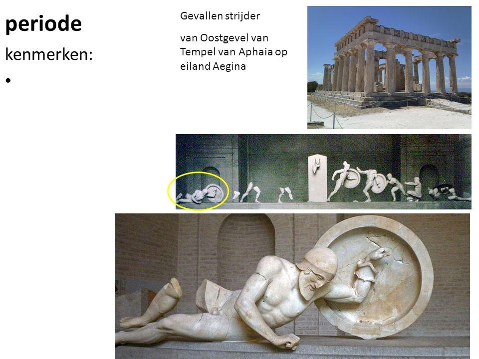 periode kenmerken: Gevallen strijder van Oostgevel van Tempel van Aphaia op eiland Aegina